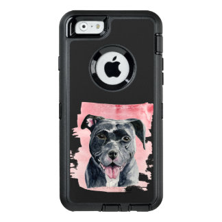 Black American Bulldog Watercolor Painting OtterBox Defender iPhone Case