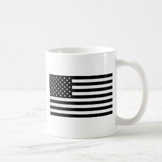 Black American Flag Basic White Mug