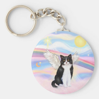 Black & White Cat - Clouds Key Ring
