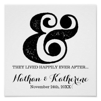 Black Ampersand Happily Ever After Wedding Date Poster