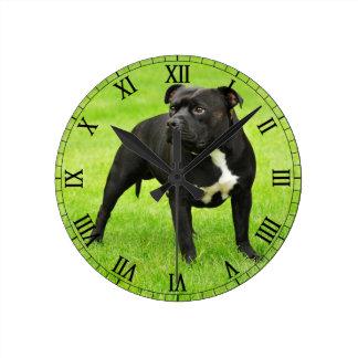 Black Amstaff Round Clock