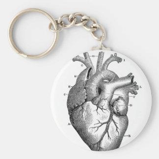 Black Anatomical Heart Basic Round Button Key Ring