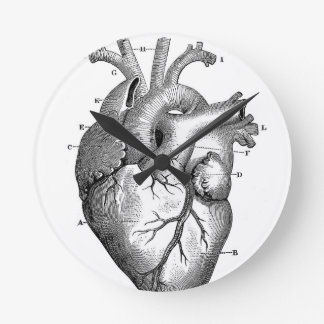 Black Anatomical Heart Round Clock