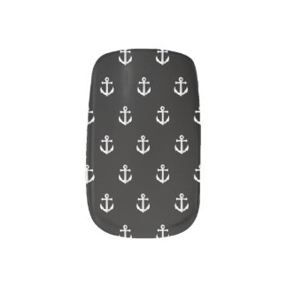 Black anchor pattern minx nail art