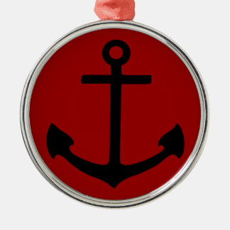 Black Anchor Silver-Colored Round Decoration