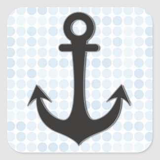 Black Anchor Square Sticker