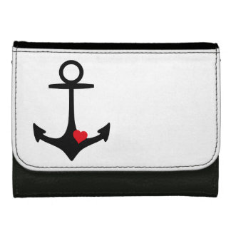 Black Anchor with heart Women's Wallet