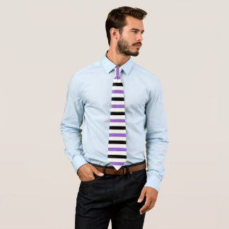 Black and Amethyst Stripes Pattern Modern White Tie