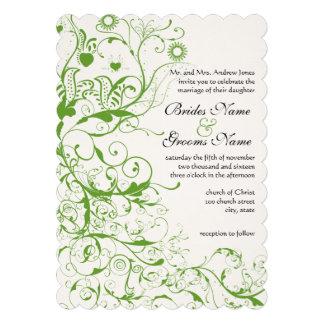 Black and Apple Green Bird Swirl Wedding Invite