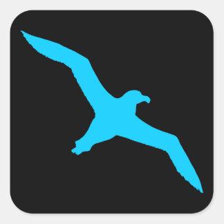 Black and Aqua Albatross Square Sticker