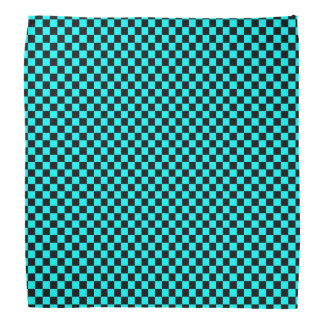 Black and Aqua Blue Checkered Pattern Bandana