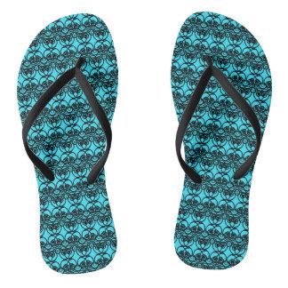 Black and Aqua Blue Lace Swirl Pattern Flip Flops