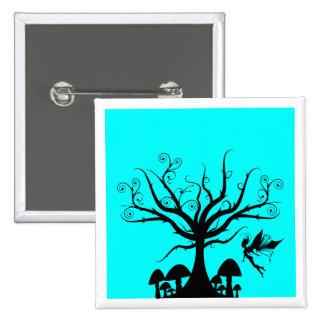 Black and Aqua Blue Spooky Fairy Button