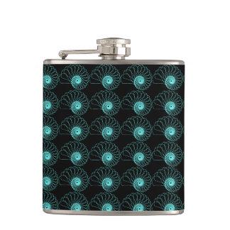 Black and Aqua Geometric Shell pattern Hip Flask