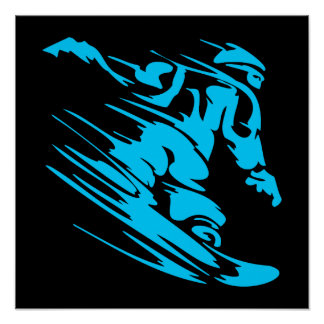 Black and Aqua Snowboarder Silhouette Poster