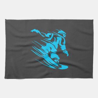 Black and Aqua Snowboarder Silhouette Tea Towel