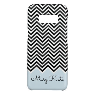 Black and baby blue Modern Chevron Custom Monogram Case-Mate Samsung Galaxy S8 Case