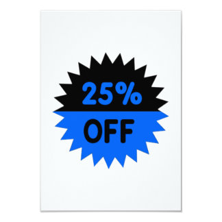Black and Blue 25 Percent Off 9 Cm X 13 Cm Invitation Card