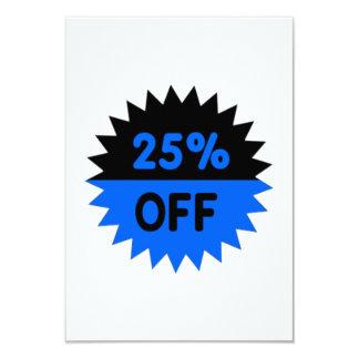 Black and Blue 25 Percent Off 3.5x5 Paper Invitation Card