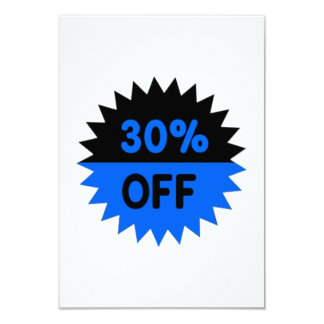 Black and Blue 30 Percent Off 3.5x5 Paper Invitation Card