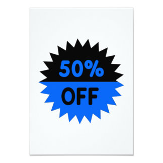 Black and Blue 50 Percent Off 9 Cm X 13 Cm Invitation Card