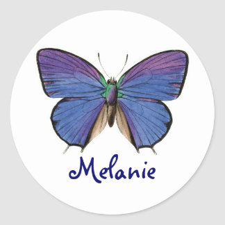 Black And Blue Butterfly And Name Kids Round Sticker