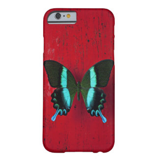 Black and blue butterfly on red wall barely there iPhone 6 case