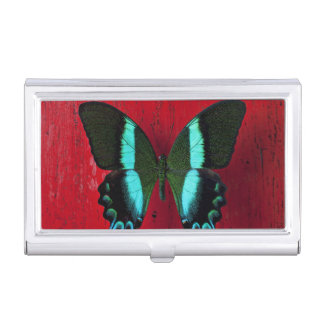 Black and blue butterfly on red wall business card holder