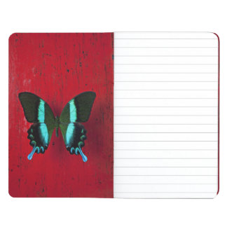 Black and blue butterfly on red wall journal