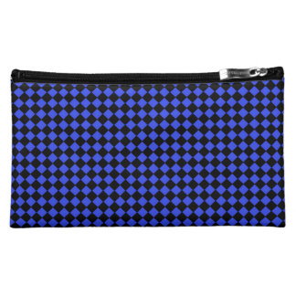 Black and Blue Checked Pattern Cosmetic Bag