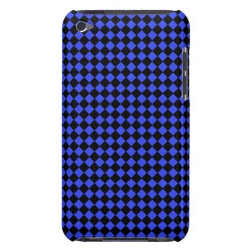 Black and Blue Checked Pattern Barely There iPod Cases