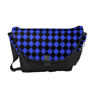 Black and Blue Checked Pattern Courier Bags