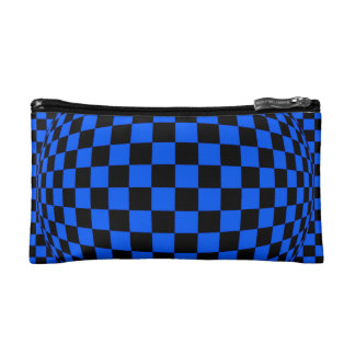 Black and Blue Checkerboard Optical Illusion Bag Cosmetic Bag
