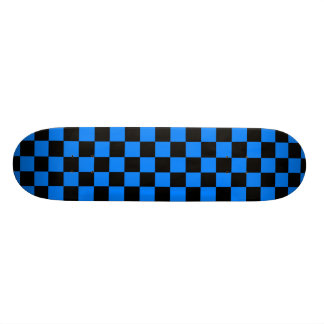 Black and Blue Checkerboard Skateboard