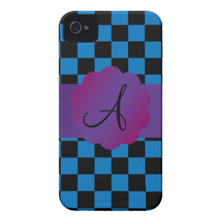Black and blue checkers monogram iPhone 4 case