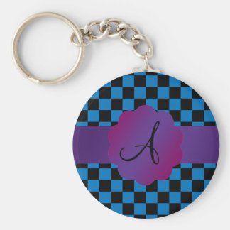 Black and blue checkers monogram keychains