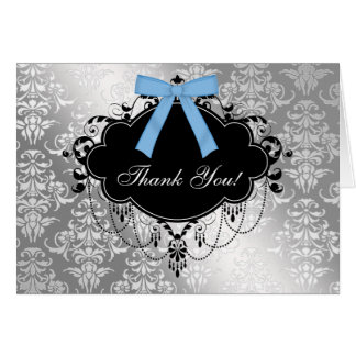 Black and Blue Damask Baby Shower Thank You Card
