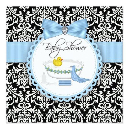 Black and Blue Damask Bath Time Baby Shower