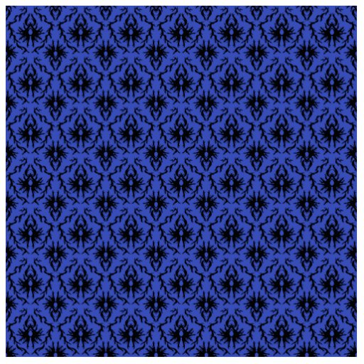 Black and Blue Damask Design Pattern. Cut Out