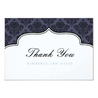 Black and Blue Damask Label Thank You Card Personalized Announcements