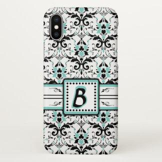 Black and Blue Damask Monogram iPhone X Case