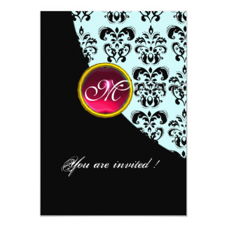 BLACK AND BLUE DAMASK MONOGRAM,red ruby Personalized Invitations