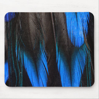 Black And Blue Feather Abstract Mouse Mat