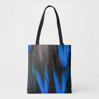 Black And Blue Feather Abstract Tote Bag