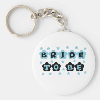 Black and Blue Flowers Bride to Be Keychains