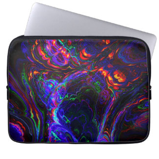 Black and Blue Fractal Abstract Design Laptop Sleeve