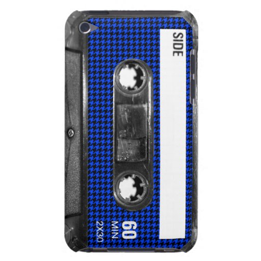 Black and Blue Houndstooth Label Cassette iPod Touch Cases