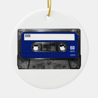 Black and Blue Houndstooth Label Cassette Round Ceramic Decoration