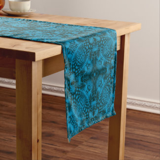 Black And Blue  Kaleidoscope Colorful Table Runner