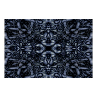 Black and blue kaleidoscope pattern poster